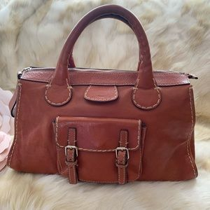 CHLOE Large Edith Satchel Bag cognac brown leather
